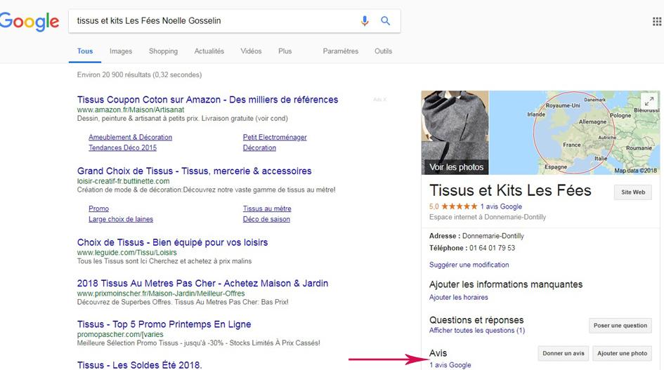 mettre un avis dans Google