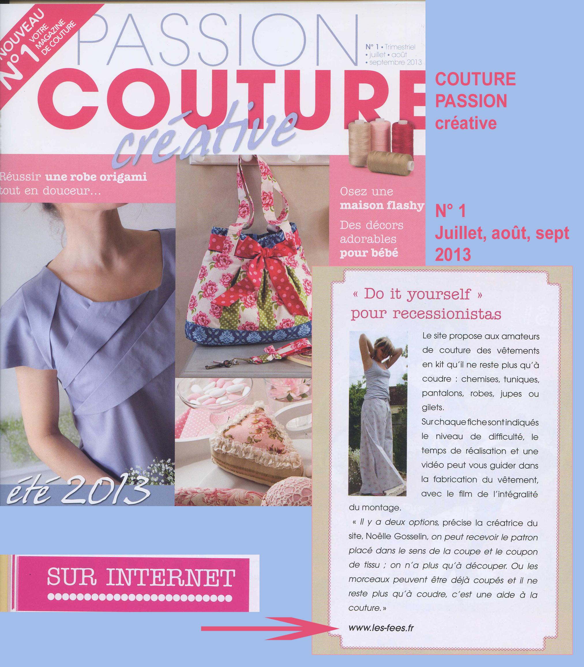 Parution magazine PASSION COUTUREcréative pour les Kits de vêtements Les Fées