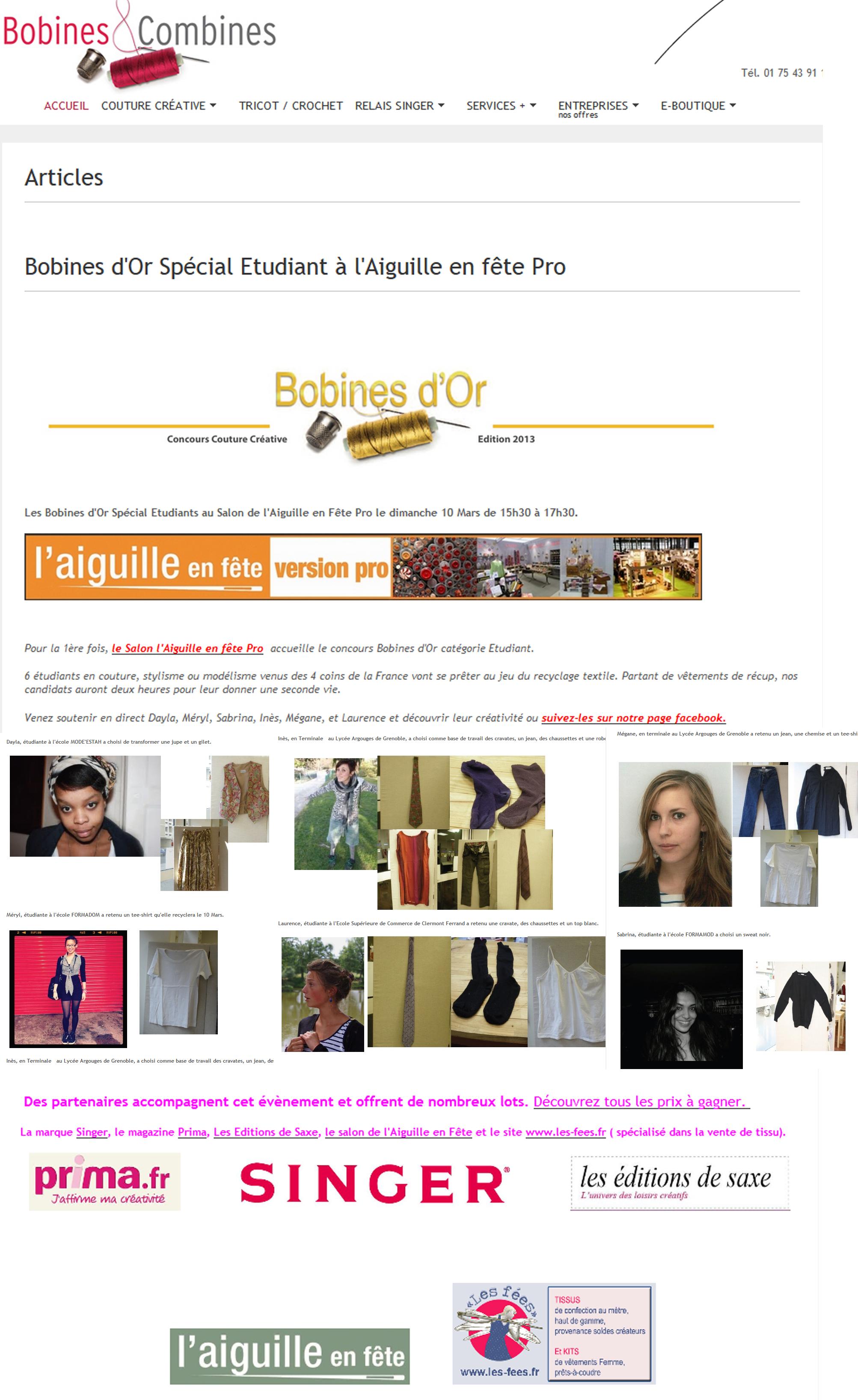 concours Bobines & Combines avec les tissus Les Fées