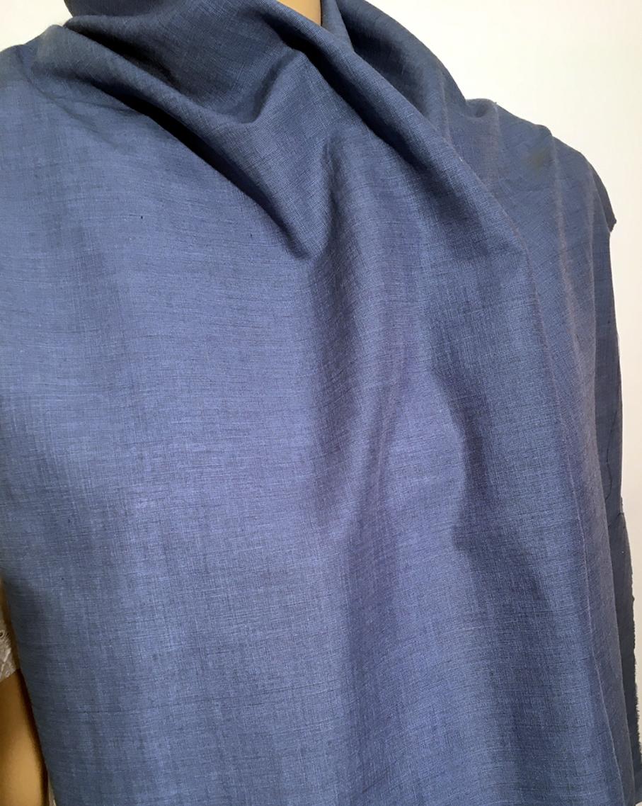 Tissu au m tre r f 110228 voile de coton viscose uni bleu charron deveaux tissu 110228 212 - Voile de forcage au metre ...