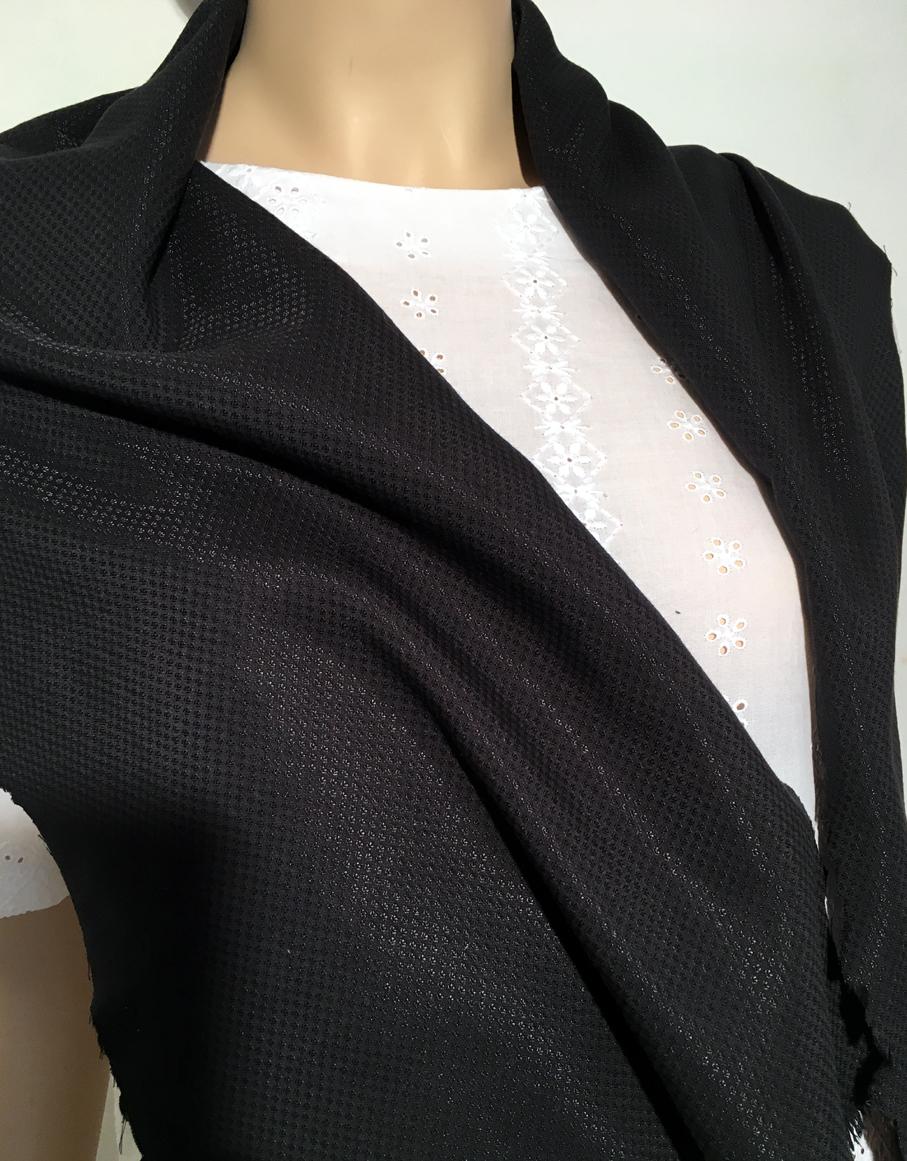 Tissu au m tre r f 180284 voile de coton damass noir uni en ac tate et coton s r tissu - Voile de forcage au metre ...