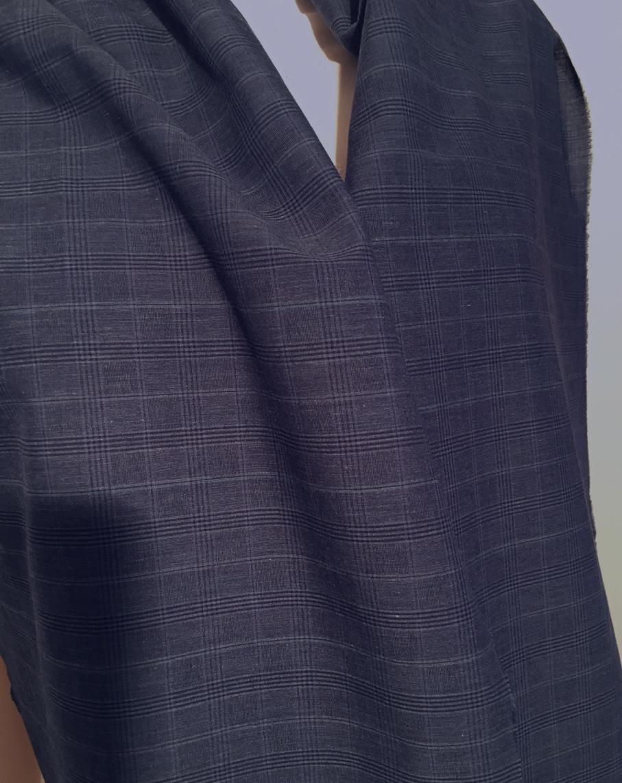 Tissu au m tre r f 210219 voile de coton et viscose carreaux coloris marine deveaux tissu - Voile de forcage au metre ...